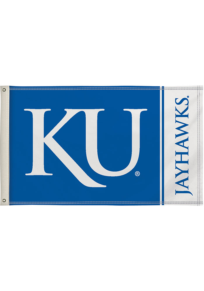 Kansas Jayhawks 3x5 Blue Silk Screen Grommet Flag - Image 1