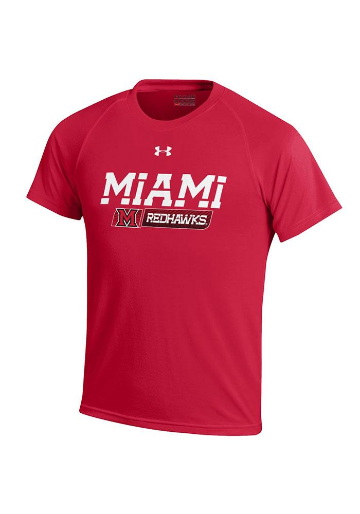 Under Armour Miami Redhawks Youth Red Tech Short Sleeve T-Shirt - Image 1