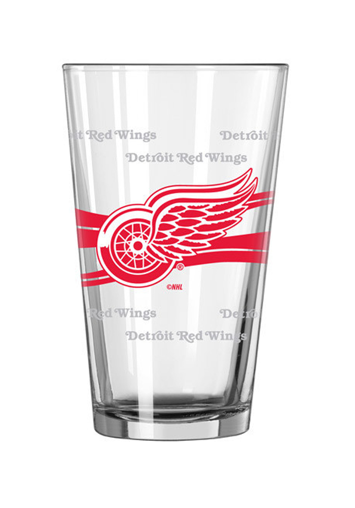 Detroit Red Wings 16oz Satin Etch Pint Glass - Image 1