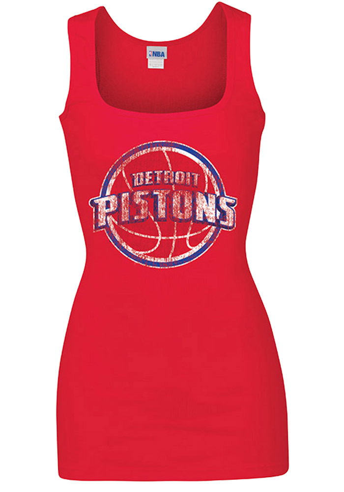 Detroit Pistons Womens Red Rib Tank Tank Top - Image 1
