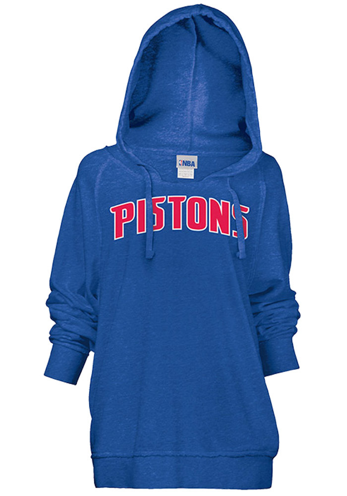 Detroit Pistons Womens Grey Fleece Hood Hooded Sweatshirt - Image 1