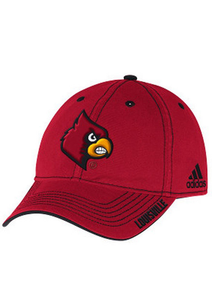 Adidas Louisville Cardinals Mens Red Coach`s Slouch Adjustable Hat - Image 1