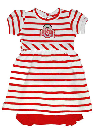 Ohio State Buckeyes Baby Girls Red Stripe Dress