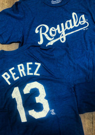Salvador Perez KC Royals Blue Tri-Blend Name And Number Fashion Player Tee
