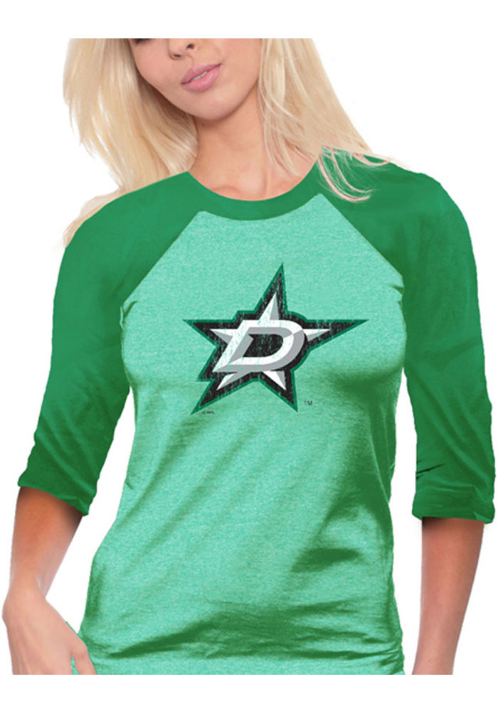 Dallas Stars Womens Triblen Raglan Green T-Shirt