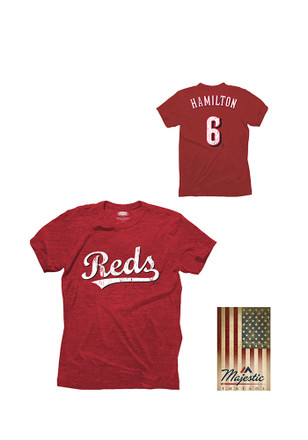 Billy Hamilton Cincinnati Mens Red Tri-blend player Fashion Player Tee