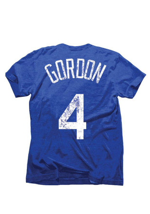 Alex Gordon KC Royals Mens Blue Tri-Blend Name And Number Fashion Player Tee