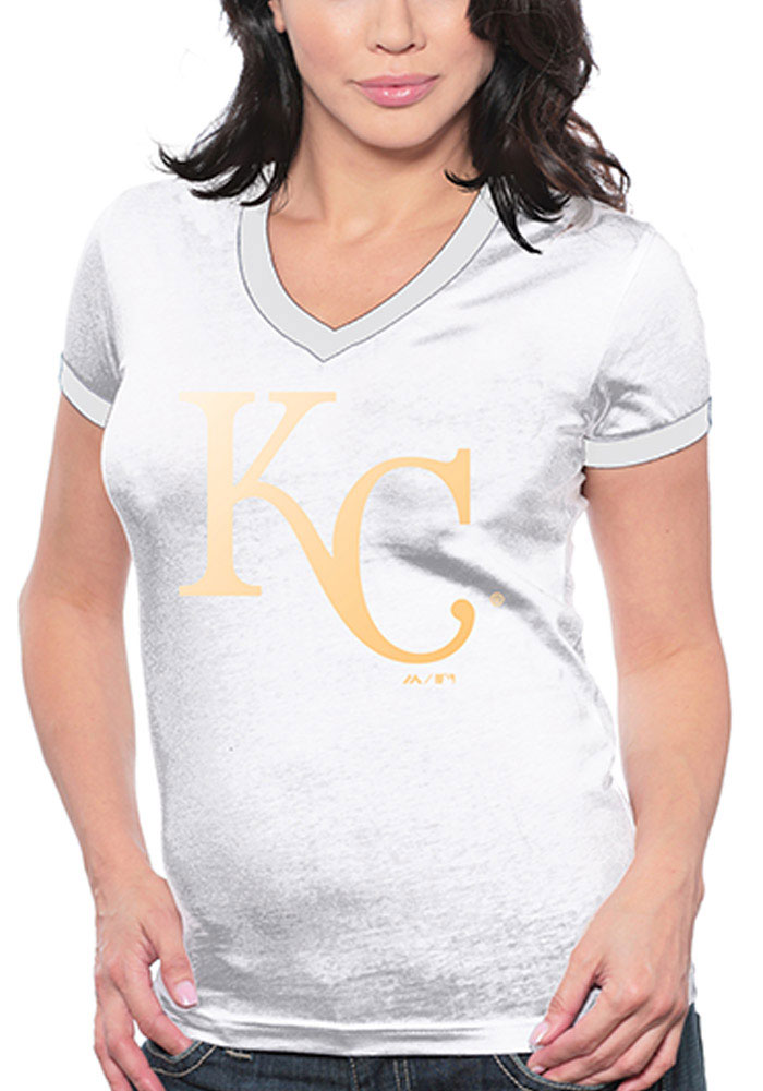 Kansas City Royals Womens White Foil Cap V-Neck T-Shirt - Image 1