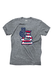 St Louis Cardinals Grey Stars and Stripes Fashion Tee