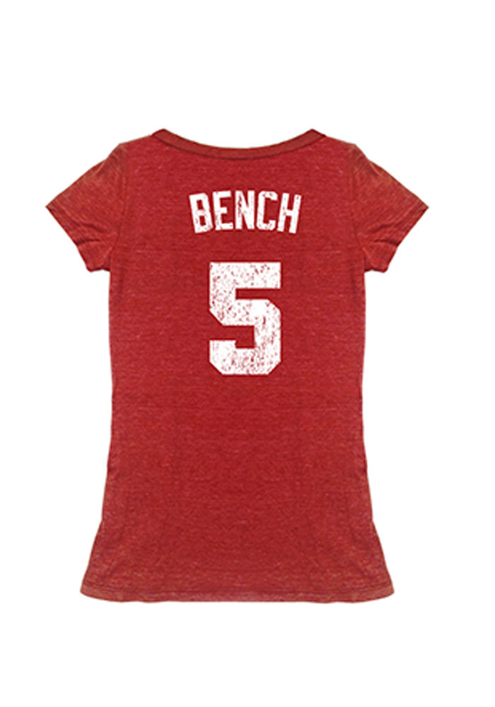 Johnny Bench Cincinnati Reds Womens Red Cooperstown Player Name and Number Player T-Shirt - Image 1