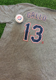 Joey Gallo Texas Rangers Grey Name and Number Fashion Player Tee