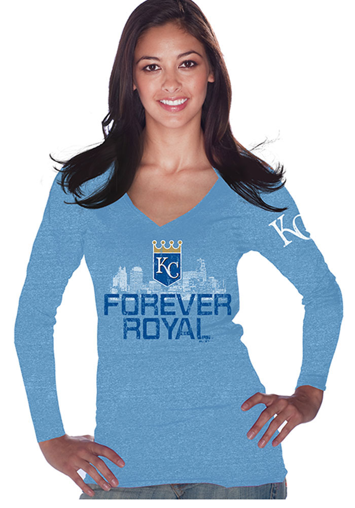 Kansas City Royals Womens Blue Forever Crown Long Sleeve T-Shirt - Image 1