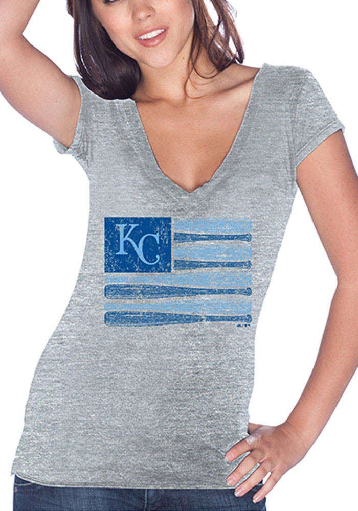 Kansas City Royals Womens Grey Bat Flag V-Neck T-Shirt - Image 1