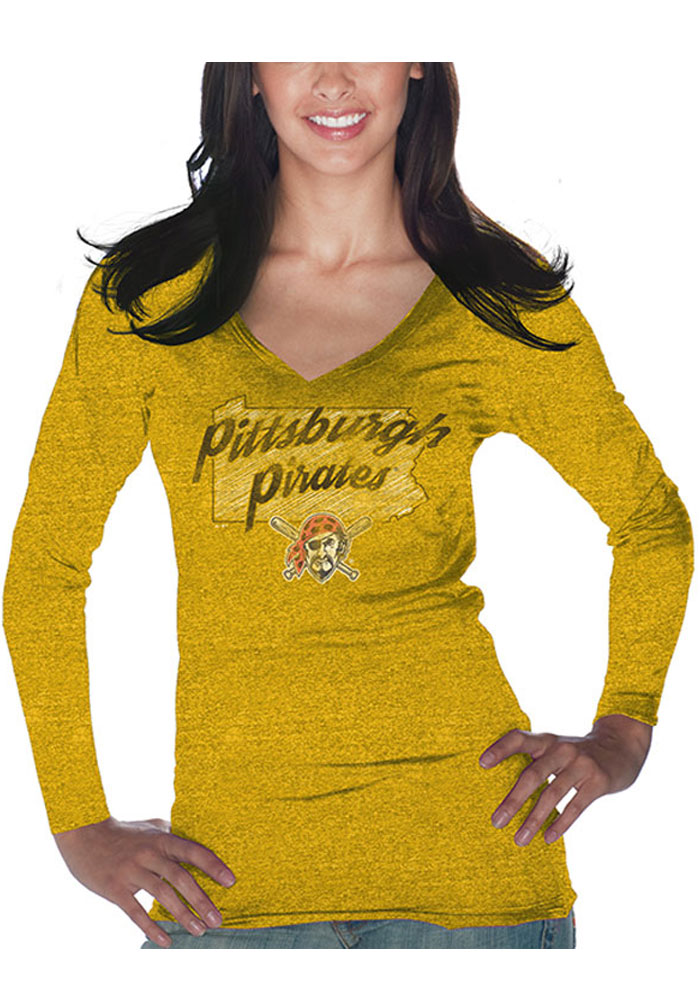 Pittsburgh Pirates Womens Gold State Pride Long Sleeve T-Shirt - Image 1