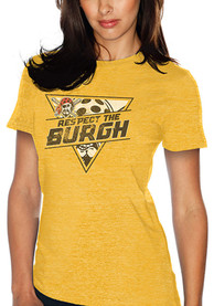 Pittsburgh Pirates Womens Respect the Burgh Gold T-Shirt