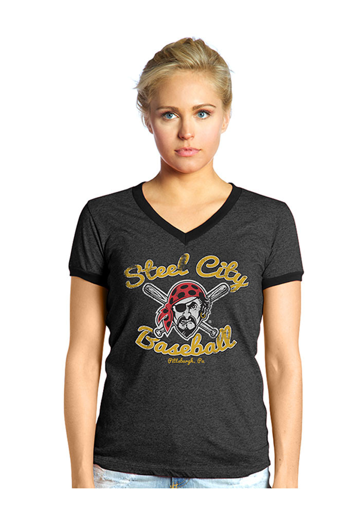 Pittsburgh Pirates Womens Black Steel City V-Neck T-Shirt - Image 1
