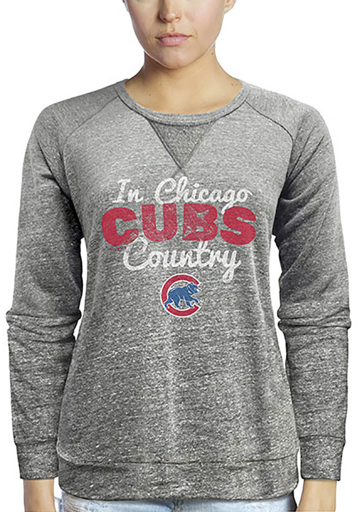 Chicago Cubs Womens Grey Cubs Country Crew Sweatshirt - Image 1