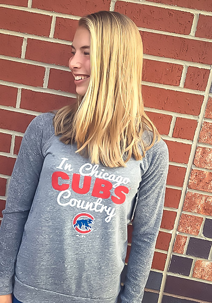 Chicago Cubs Womens Grey Cubs Country Crew Sweatshirt - Image 2