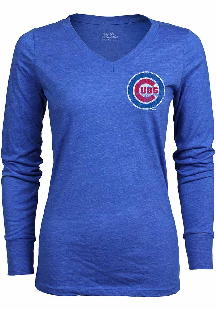 Chicago Cubs Womens Blue Primary Logo Long Sleeve T-Shirt - Image 1