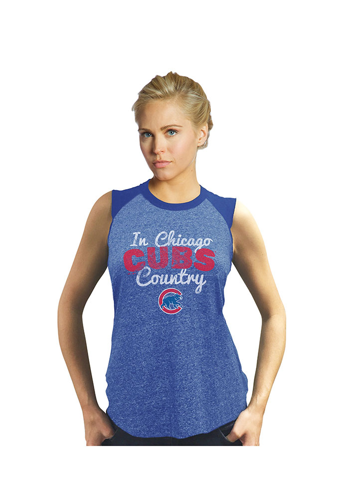 Chicago Cubs Womens Blue Cubs Country Tank Top - Image 1