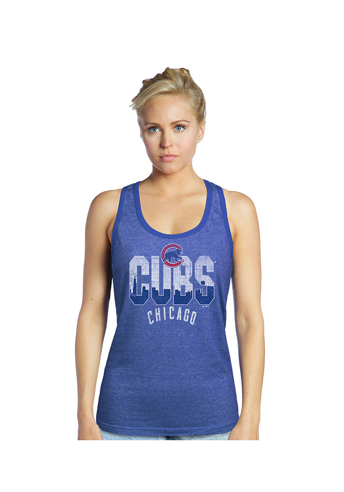 Chicago Cubs Womens Blue Skyline Wordmark Tank Top - Image 1