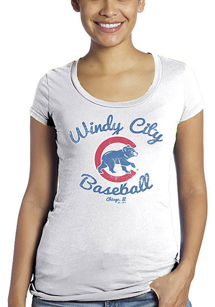 Chicago Cubs Womens White Windy City Scoop T-Shirt - Image 1