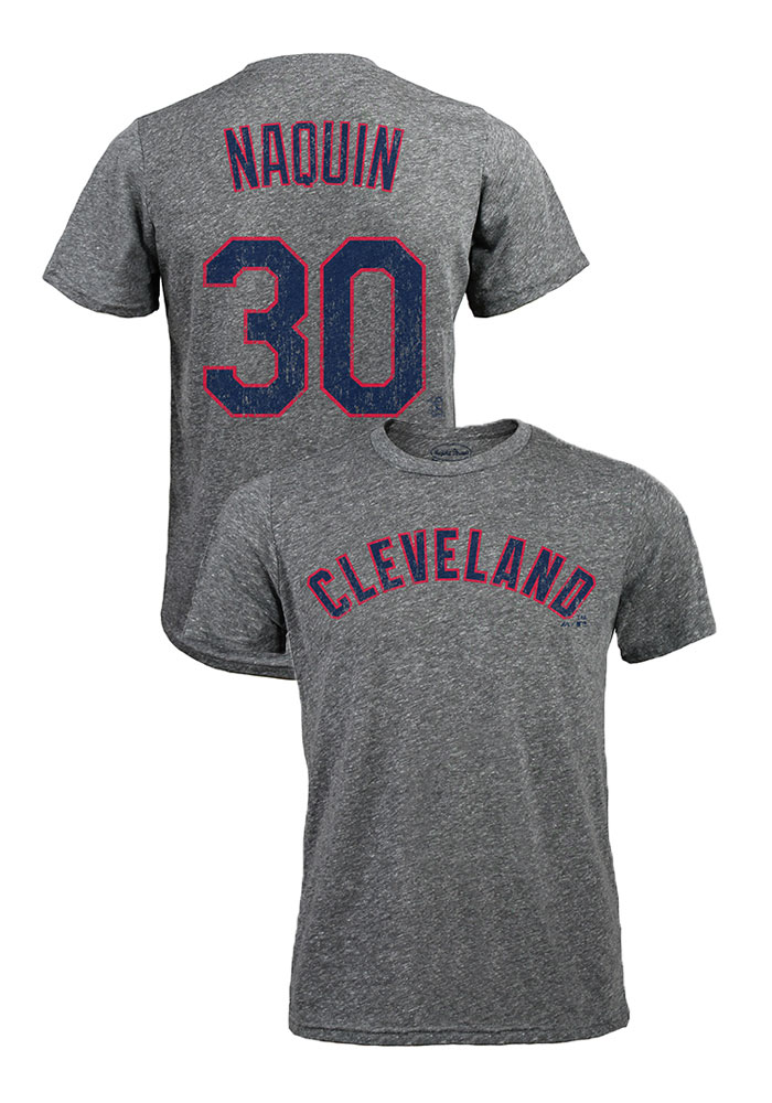 reputable site 1d040 b9cc6 Tyler Naquin Cleveland Indians Grey Tri-blend Short Sleeve Fashion Player T  Shirt