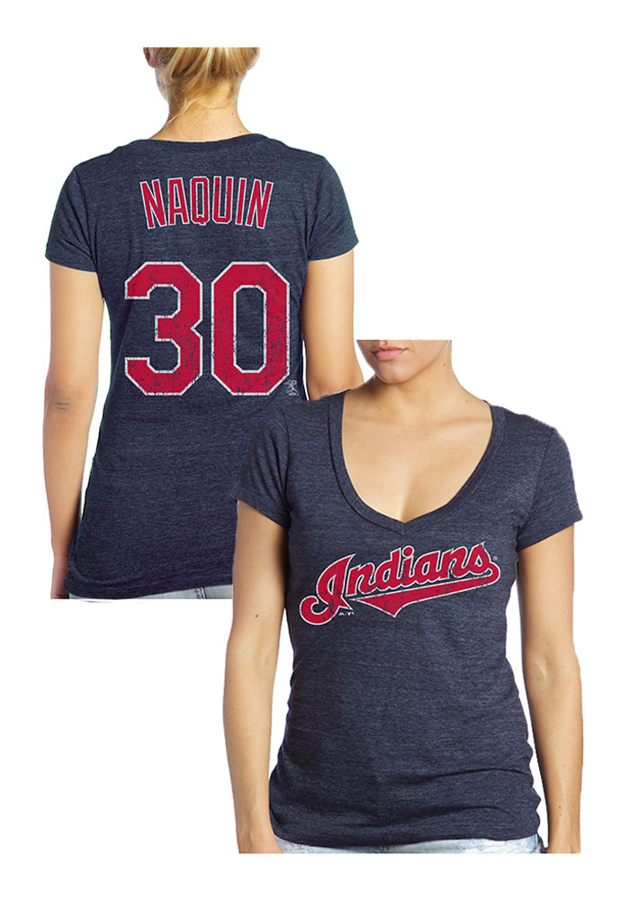 Tyler Naquin Cleveland Indians Womens Navy Blue Tri-blend Player T-Shirt - Image 1