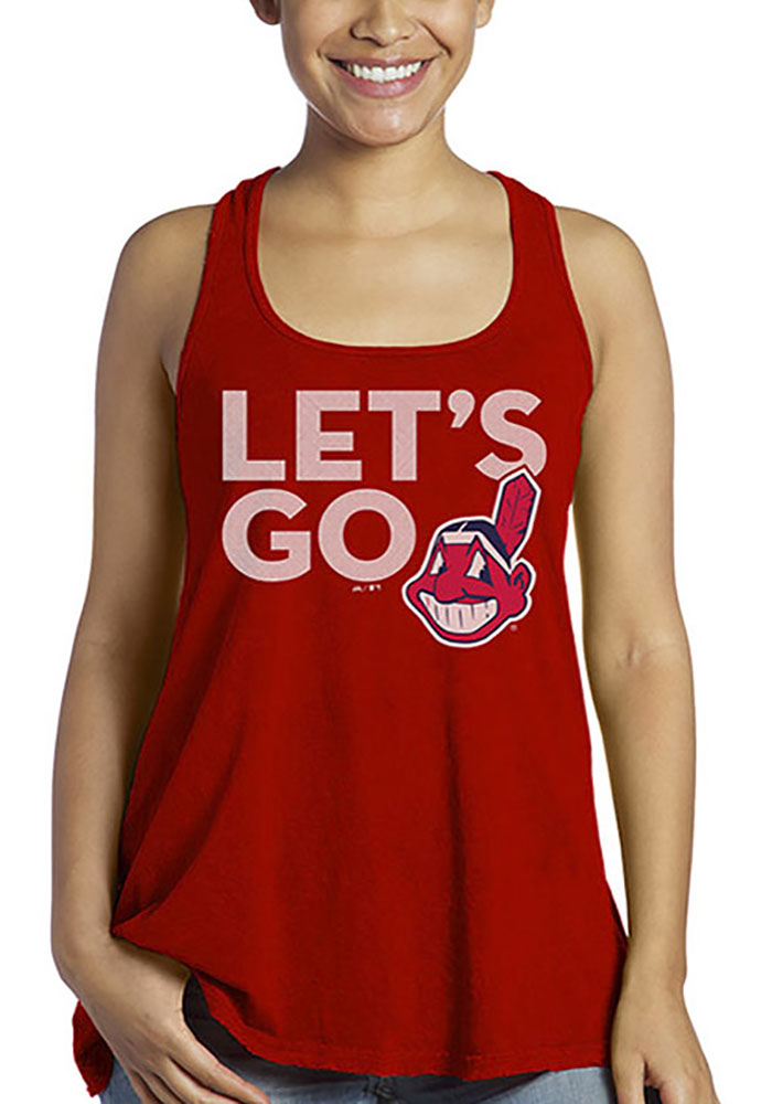 Cleveland Indians Womens Red Let's Go Indians Tank Top - Image 1