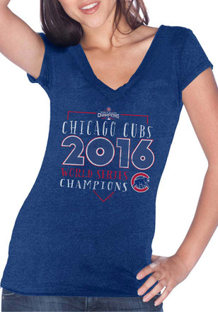Chicago Cubs Womens Blue Winning Tradition V-Neck