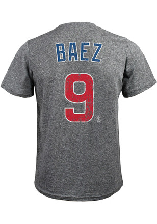 Javier Baez Chicago Cubs Mens Grey Name and Number Fashion Player Tee