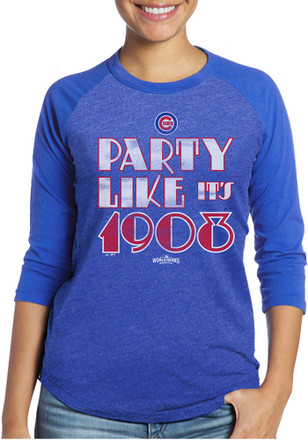 Chicago Cubs Womens Party Like It's 1908 Blue T-Shirt