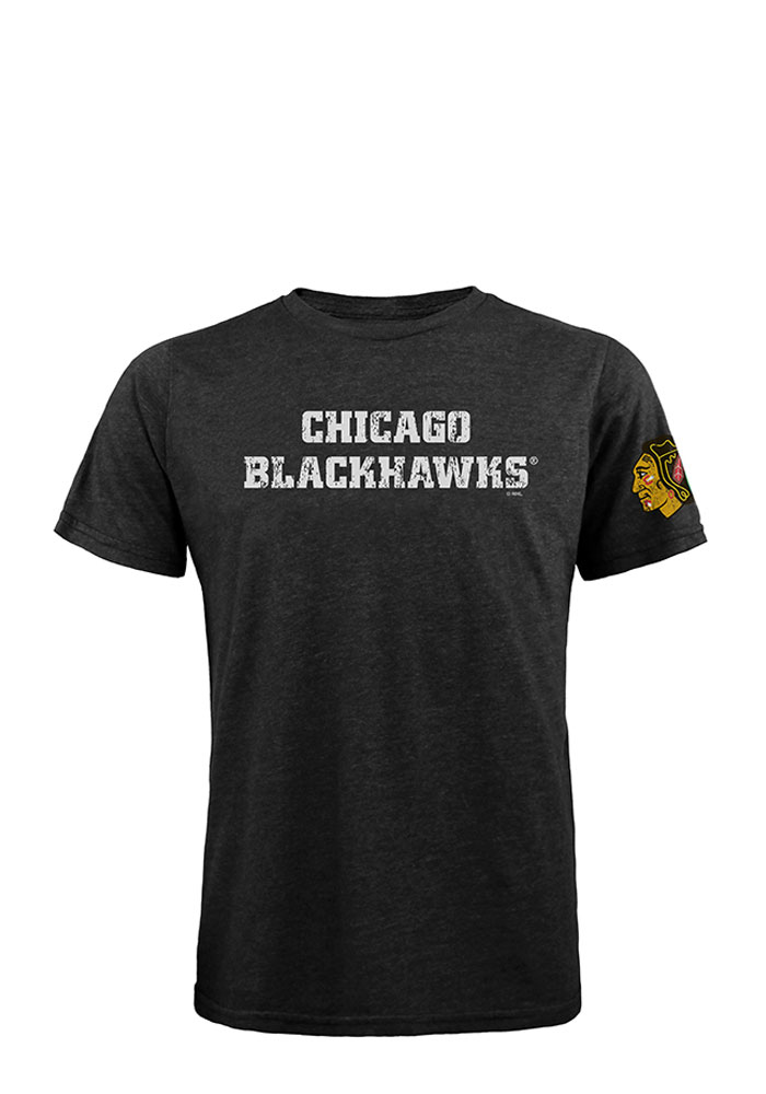 Chicago Blackhawks Mens Black Wordmark Short Sleeve Fashion T Shirt - Image 1