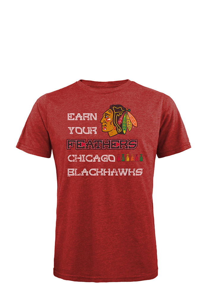Chicago Blackhawks Mens Red Earn Your Feathers Short Sleeve Fashion T Shirt - Image 1
