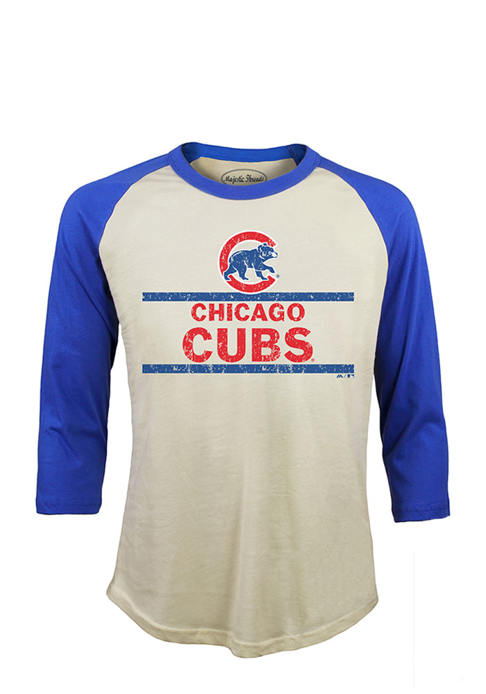 Chicago Cubs Mens White Sideline Long Sleeve Fashion T Shirt - Image 1