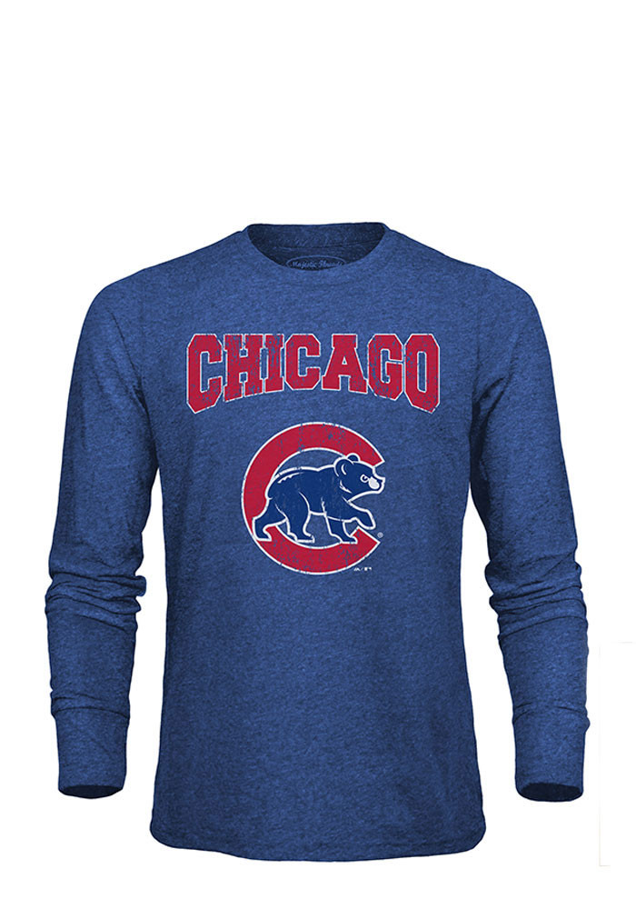 Chicago Cubs Mens Blue City Over Long Sleeve Fashion T Shirt - Image 1