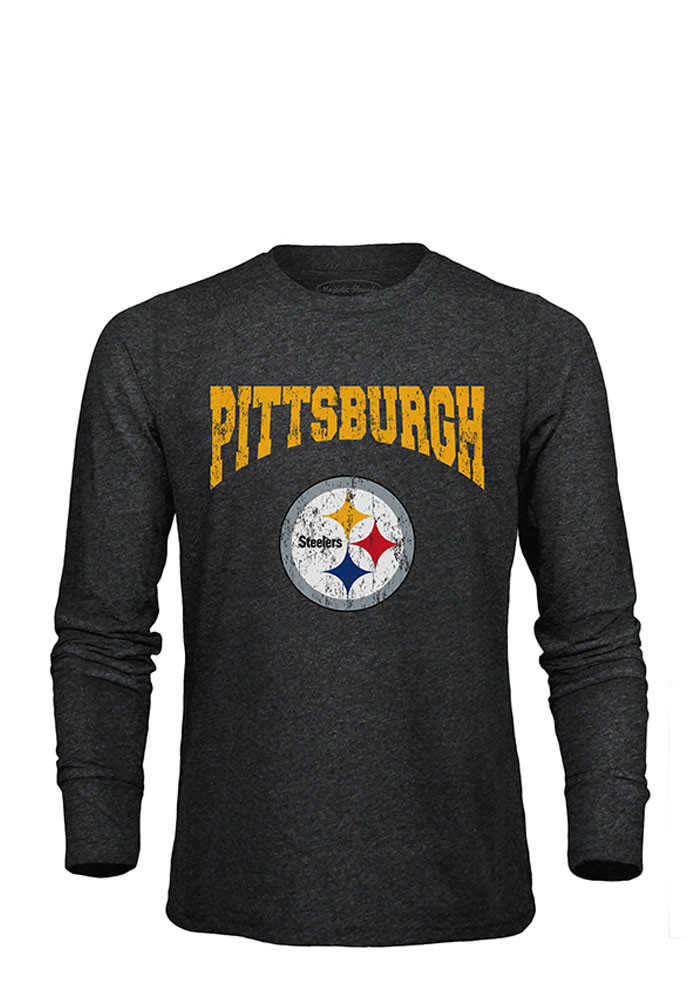 Pittsburgh Steelers Mens Black City Over Long Sleeve Fashion T Shirt - Image 1