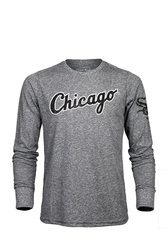Chicago White Sox Mens Grey Road Wordmark Long Sleeve Fashion T Shirt - Image 1