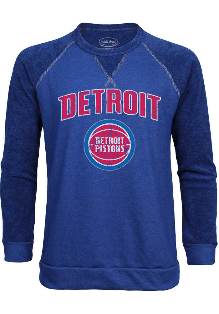 Detroit Pistons Mens Blue Wordmark over Primary Long Sleeve Fashion Sweatshirt - Image 1
