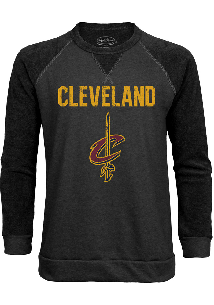 Cleveland Cavaliers Mens Black Wordmark over Primary Long Sleeve Fashion Sweatshirt - Image 1