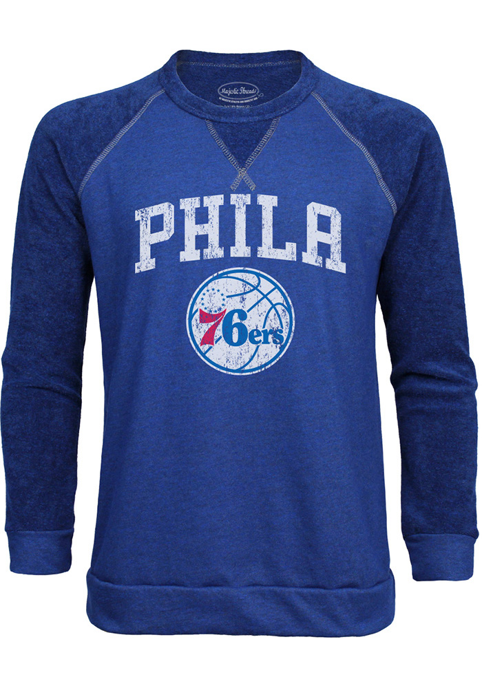 Philadelphia 76ers Mens Blue Wordmark over Primary Long Sleeve Fashion Sweatshirt - Image 1