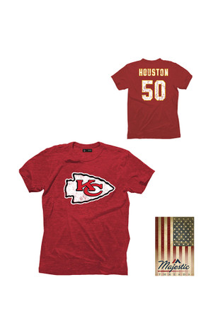 Justin Houston KC Chiefs Mens Red distressed screen print Fashion Player Tee