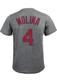 Yadier Molina St Louis Cardinals Grey Name and Number Fashion Tee