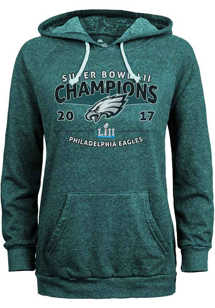 new product d45ec 83616 Philadelphia Eagles Womens Midnight Green 2018 Super Bowl Champions Hooded  Sweatshirt
