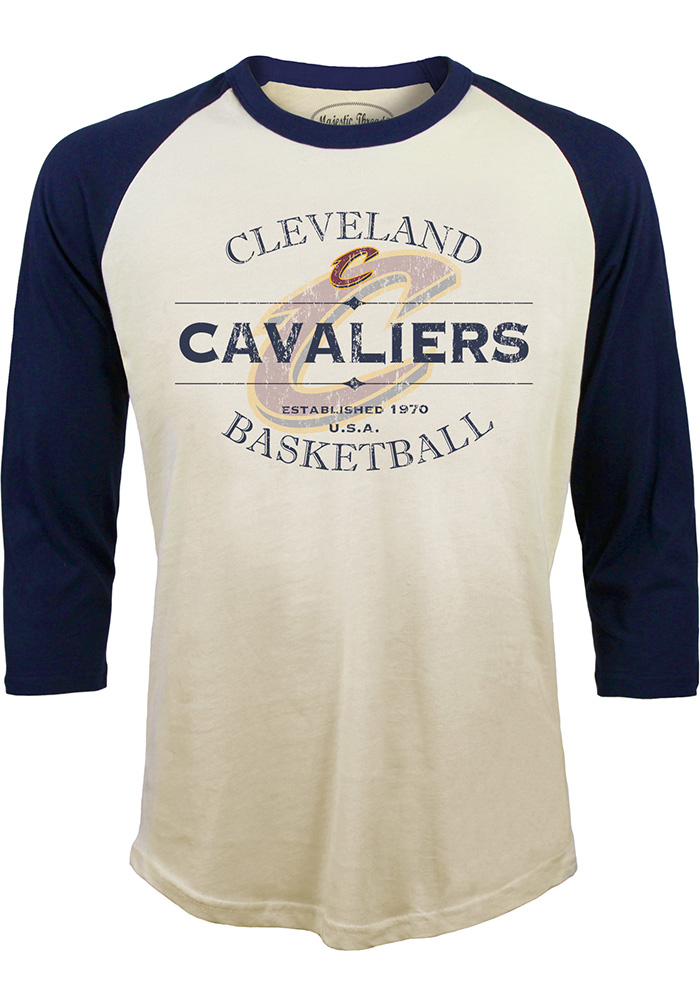 Cleveland Cavaliers Mens White Vintage Long Sleeve Fashion T Shirt - Image 1