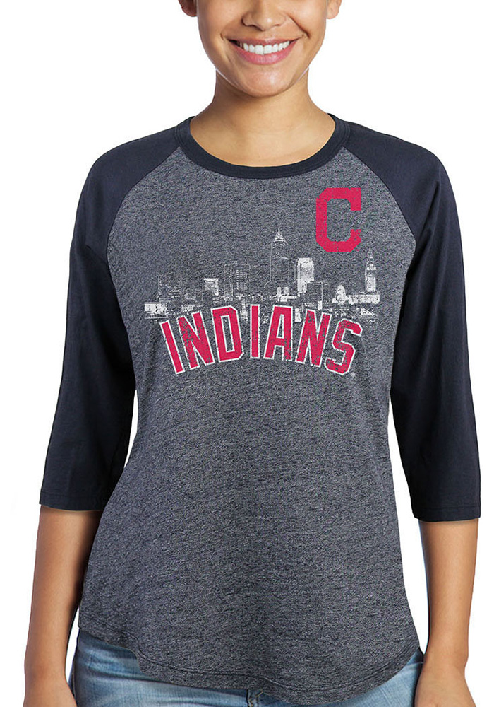 Cleveland Indians Womens Skyline Navy Blue LS Tee