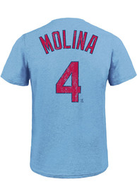 Yadier Molina St Louis Cardinals Majestic Threads Name And Number T-Shirt - Light Blue
