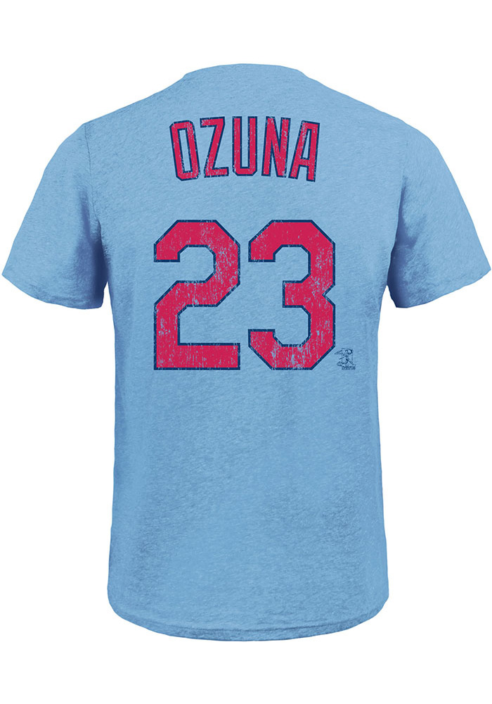 Marcell Ozuna St Louis Cardinals Light Blue Name & Number Short Sleeve Fashion Player T Shirt - Image 1