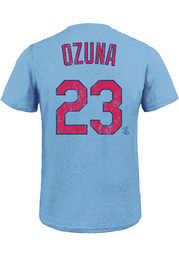 Marcell Ozuna St Louis Cardinals Light Blue Name Number Fashion Player Tee