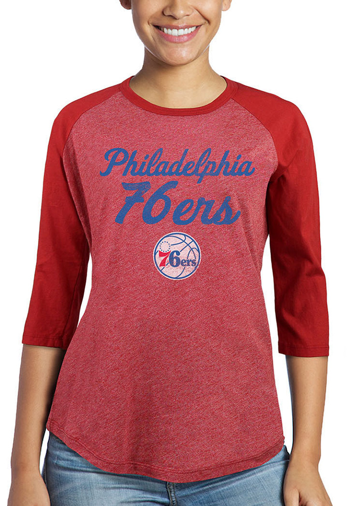 Philadelphia 76ers Womens Double Dribble Red LS Tee